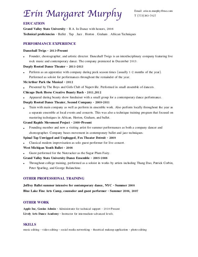 Official Dance Resume – Dance Resume