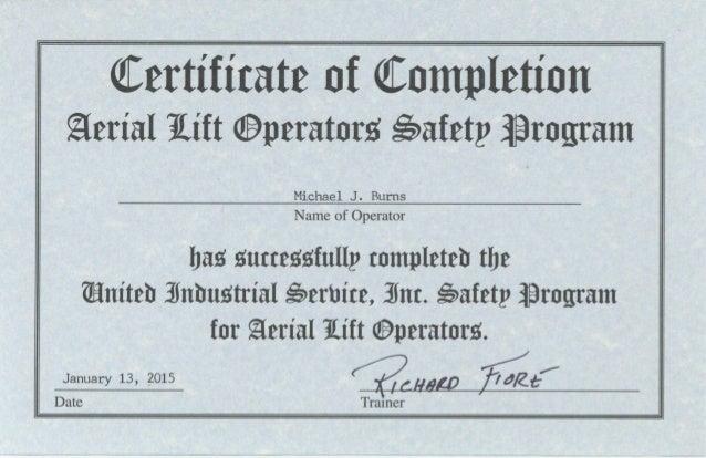 Boom lift certification