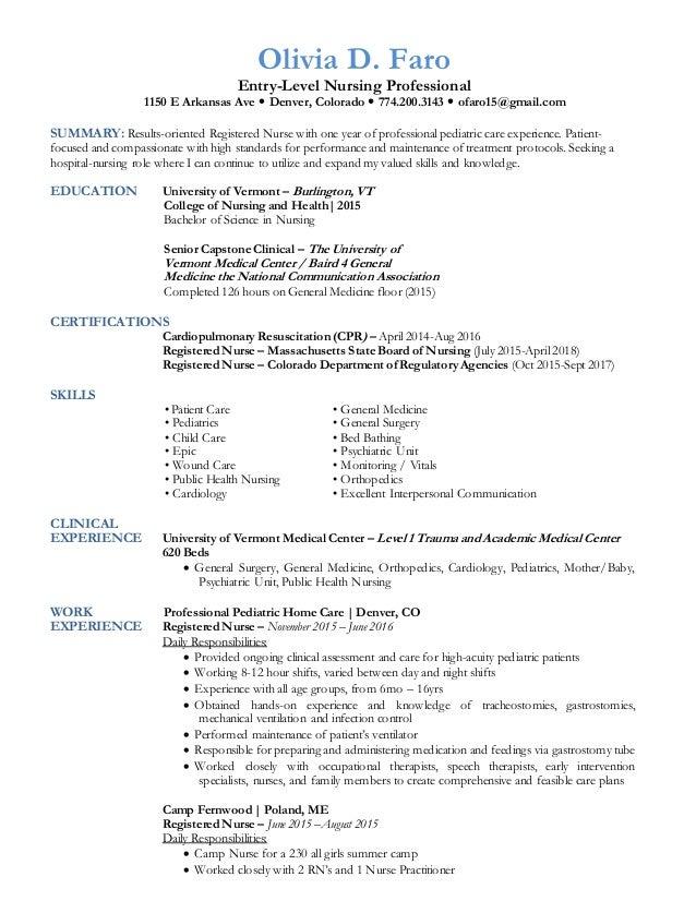 Olivia D. Faro Entry Level Nursing Professional 1150 E Arkansas Ave   Denver, ...  Entry Level Rn Resume