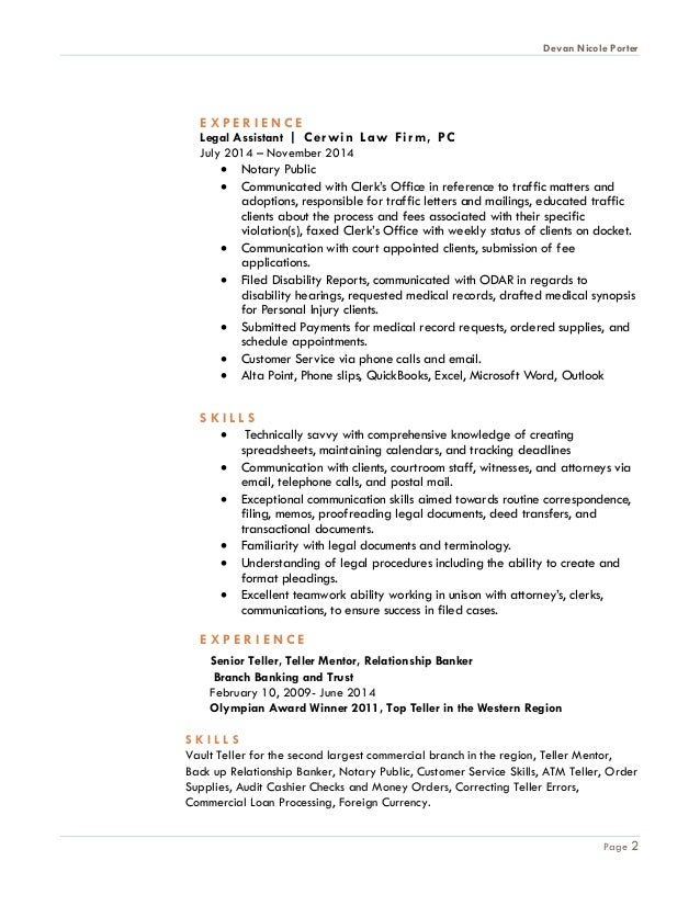 Legal Assistant Resume Devan Porter