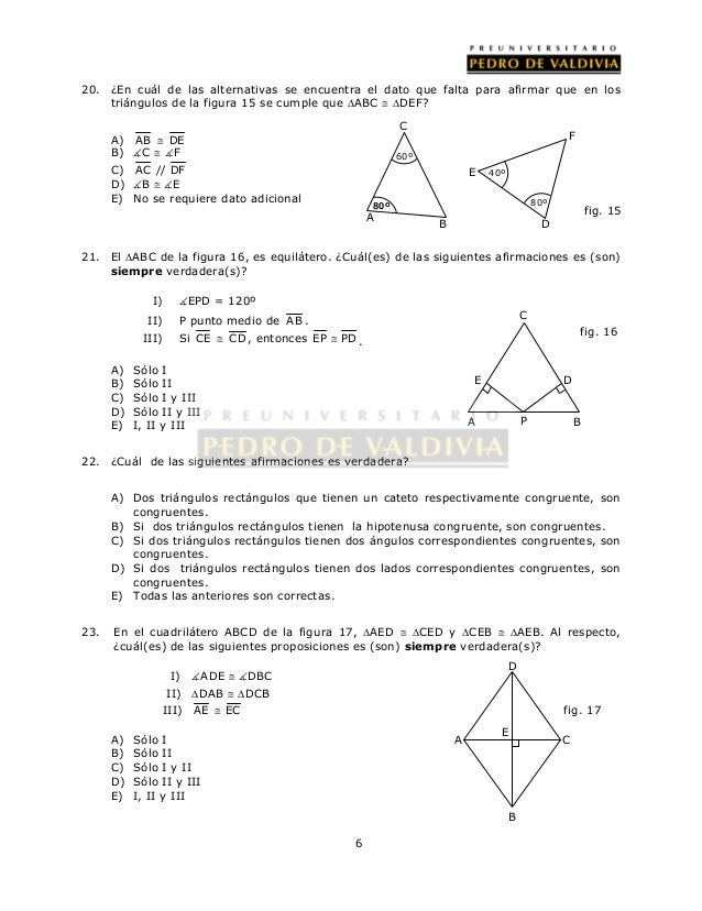 Encuentre las parejas de triangulos congruentes