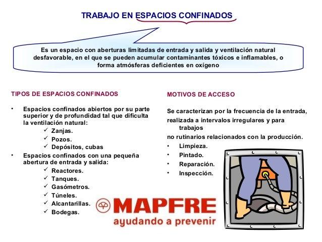 TRABAJO EN ESPACIOS CONFINADOS TIPOS DE ESPACIOS CONFINADOS • Espacios confinados abiertos por su parte superior y de prof...