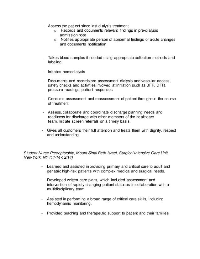 nursing resume - Dialysis Nurse Resume Sample