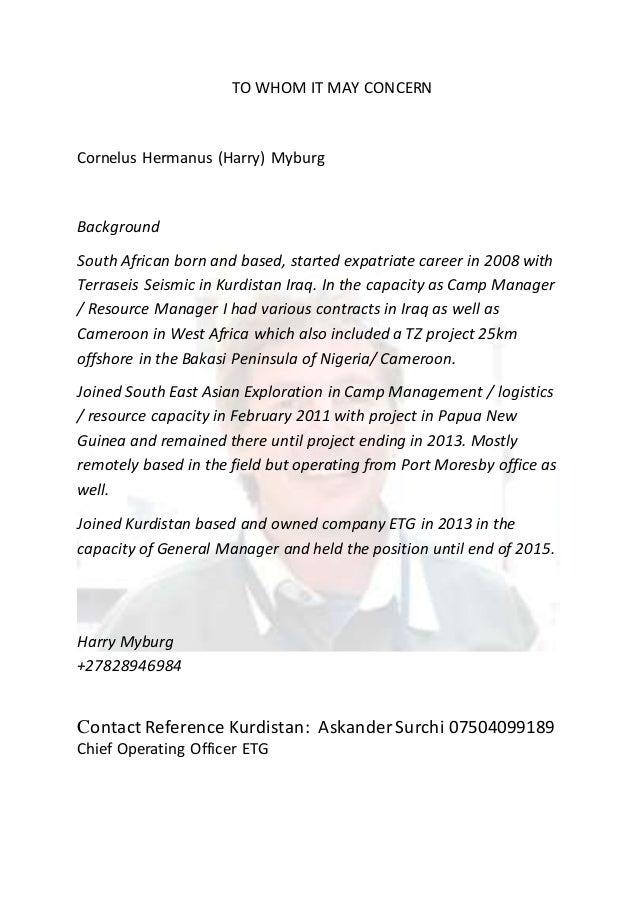 Harry Cover Letter. TO WHOM IT MAY CONCERN Cornelus Hermanus (Harry) Myburg  Background South African Born And