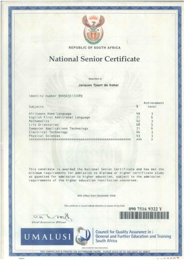 Coloured National Senior Certificate