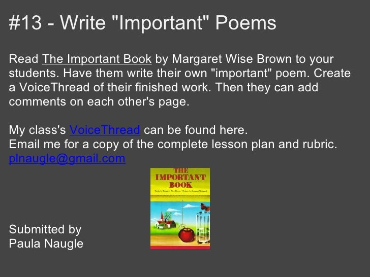"""#13 - Write """"Important"""" PoemsRead The Important Book by Margaret Wise Brown to yourstudents. Have them write their own """"im..."""