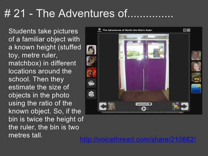 # 21 - The Adventures of...............Students take picturesof a familiar object witha known height (stuffedtoy, metre ru...
