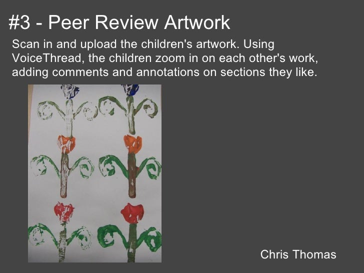 #3 - Peer Review ArtworkScan in and upload the childrens artwork. UsingVoiceThread, the children zoom in on each others wo...