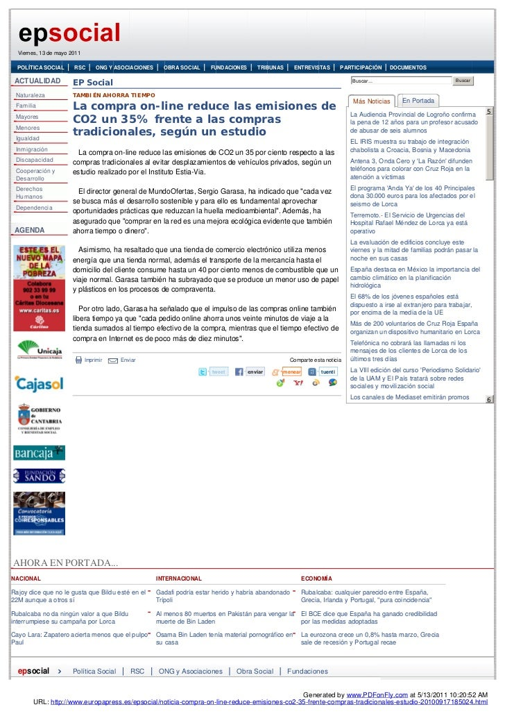 Viernes, 13 de mayo 2011  POLÍTICA SOCIAL      RSC        ONG Y ASOCIACIONES     OBRA SOCIAL     FUNDACIONES      TRIBUNAS...