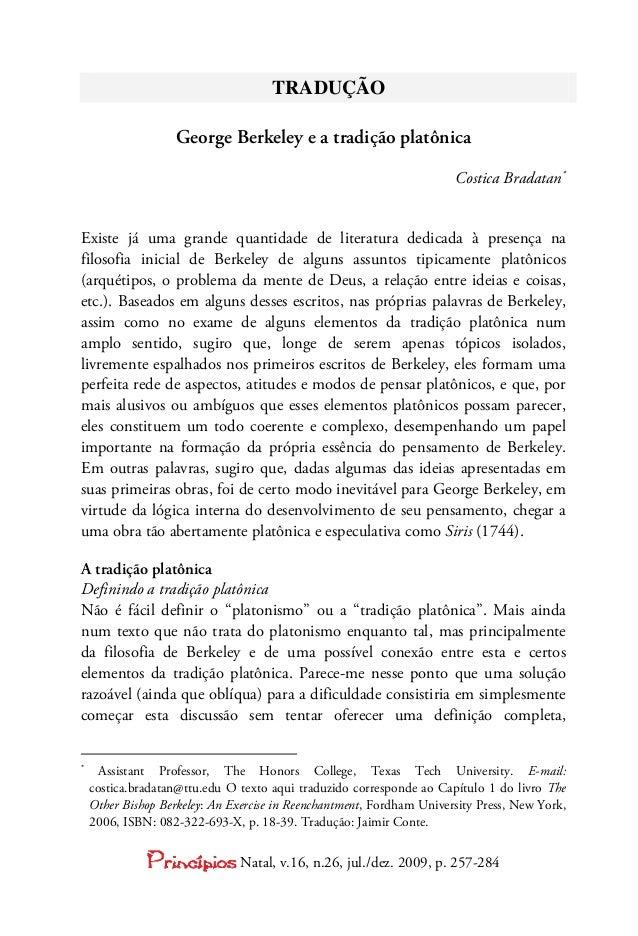TRADUÇÃO                   George Berkeley e a tradição platônica                                                         ...
