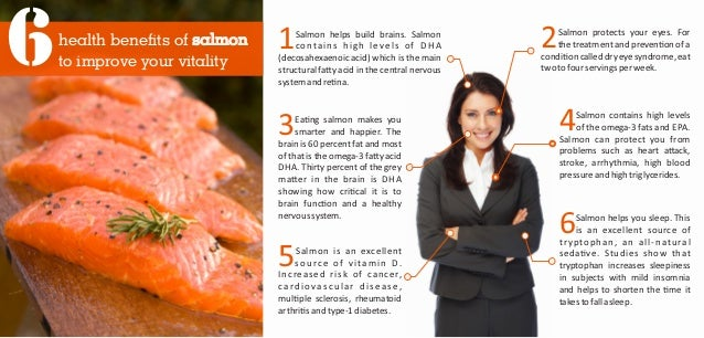 health benefits of salmon to improve your vitality6 3Ea ng salmon makes you smarter and happier. The brain is 60 percent f...
