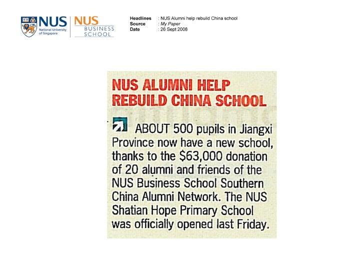 26 Sept 2008 Nus Alumni Help Rebuild China School My Paper
