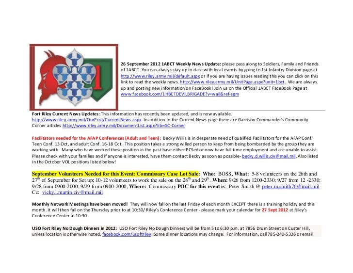 26 September 2012 1ABCT Weekly News Update: please pass along to Soldiers, Family and Friends                             ...