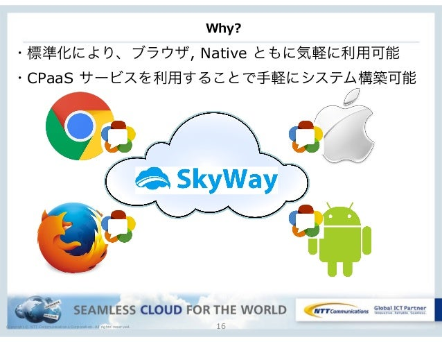 Copyright © NTT Communications Corporation. All rights reserved. Why? 16 ・標準化により、ブラウザ, Native ともに気軽に利用可能 ・CPaaS サービスを利用するこ...
