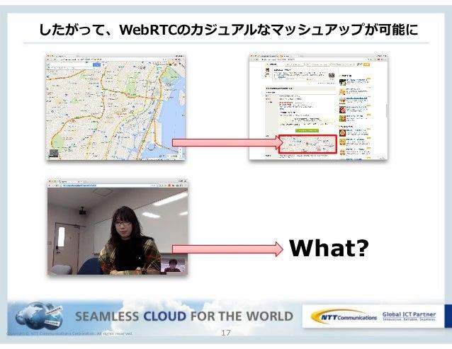 Copyright © NTT Communications Corporation. All rights reserved. したがって、WebRTCのカジュアルなマッシュアップが可能に 17 What?