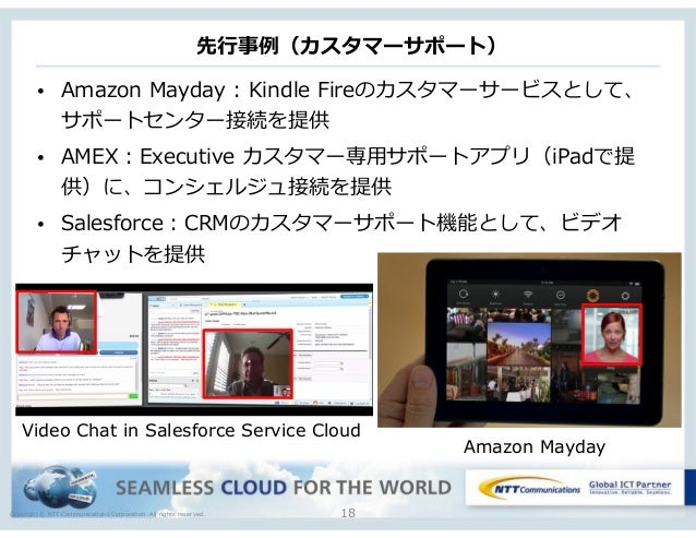 Copyright © NTT Communications Corporation. All rights reserved. 先⾏行行事例例(カスタマーサポート) 18 • Amazon Mayday : Kindle Fireのカ...