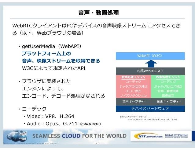 Copyright © NTT Communications Corporation. All rights reserved. ⾳音声・動画処理理 75 WebRTCクライアントはPCやデバイスの⾳音声映像ストリームにアクセスでき る(以下、...
