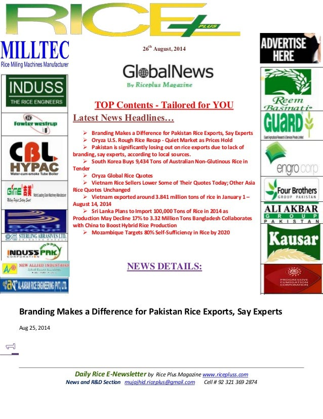 26th August, 2014  TOP Contents - Tailored for YOU  Latest News Headlines…   Branding Makes a Difference for Pakistan Ric...