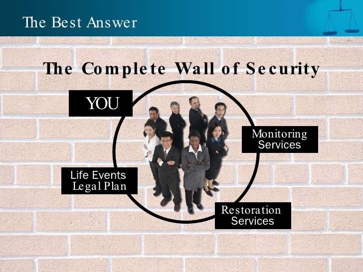 The Complete Wall of Security The Best Answer Life Events  Legal Plan YOU Monitoring Services Restoration   Services