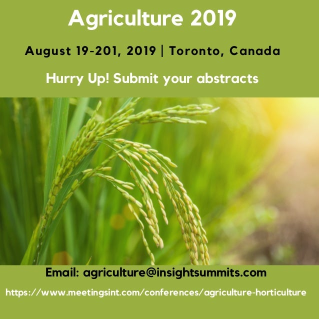3rd International Conference on Agriculture and Horticulture | Toront…