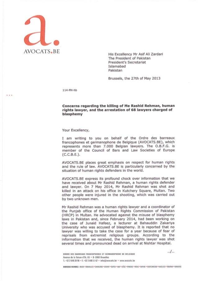 Pakistan : AVOCATS.BE interpelle au sujet de l'assassinat de Me Rehman et de l'arrestation de 68 avocats