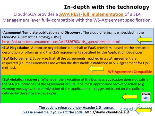 In-depth with the technologyWS-Agreement CompatibleCloud4SOA provides a JAVA REST-full implementation of a SLAManagement l...