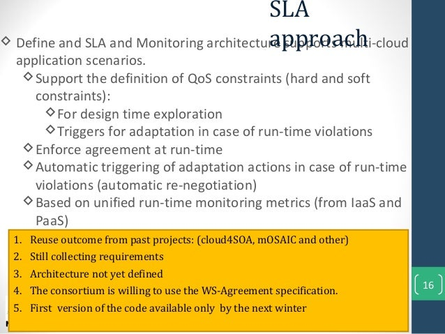 16 Define and SLA and Monitoring architecture supports multi-cloudapplication scenarios.Support the definition of QoS co...