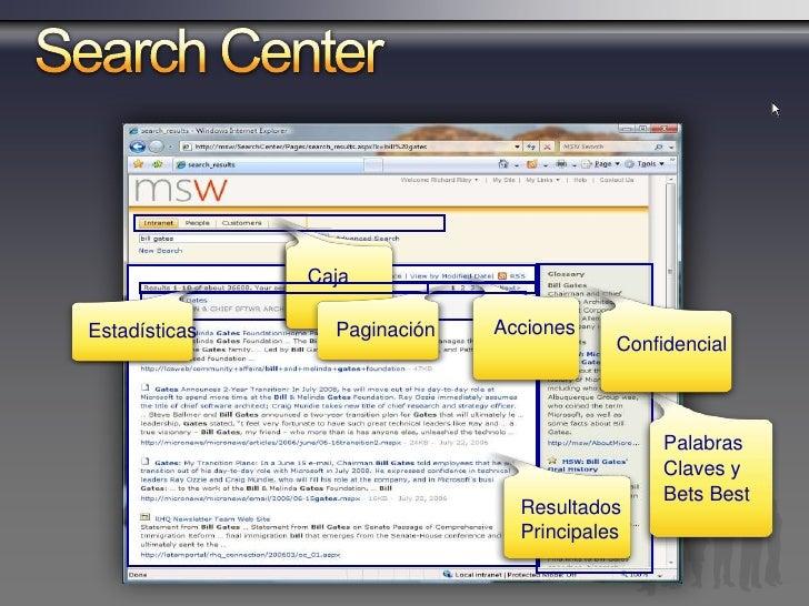 Out-of-box       Search Web Parts         Search Action Links              Despliega los vínculos de acción sobre el      ...
