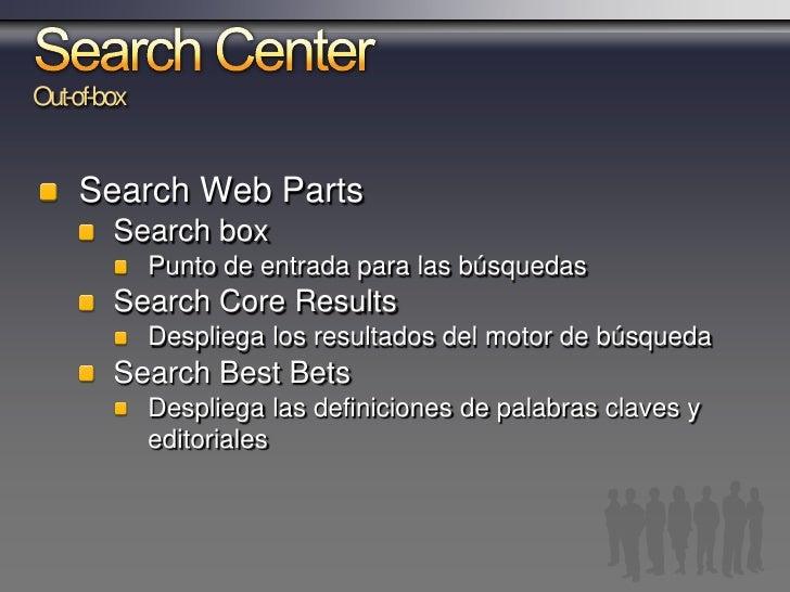 """Búsqueda desde cualquier parte Search Box es la puerta de entrada a la búsqueda Disposición de """"ámbitos"""" de búsqueda   Ade..."""