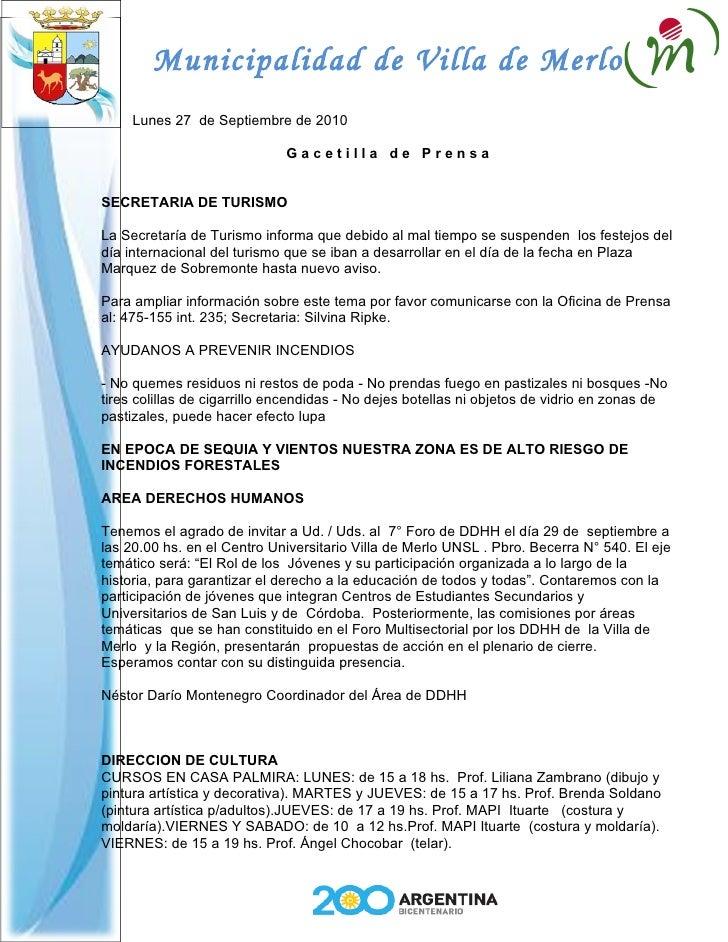 Municipalidad de Villa de Merlo      Lunes 27 de Septiembre de 2010                                Gacetilla de Prensa   S...