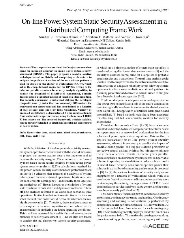Full Paper Proc. of Int. Conf. on Advances in Communication, Network, and Computing 2013  On-line Power System Static Secu...