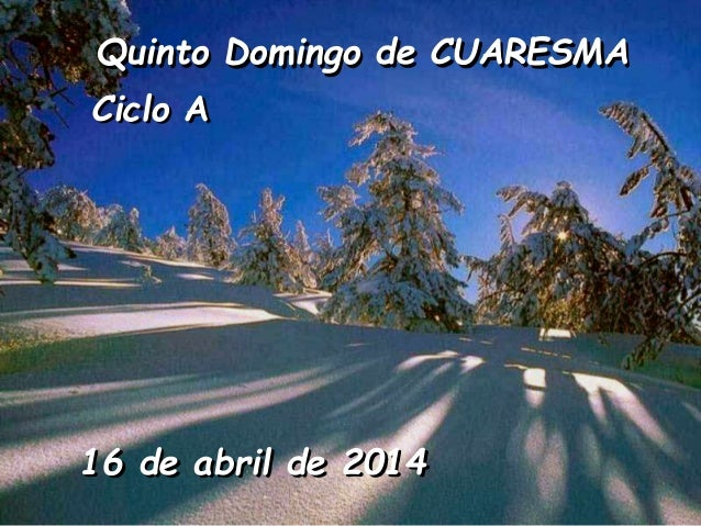Quinto Domingo de CUARESMA Ciclo A  16 de abril de 2014