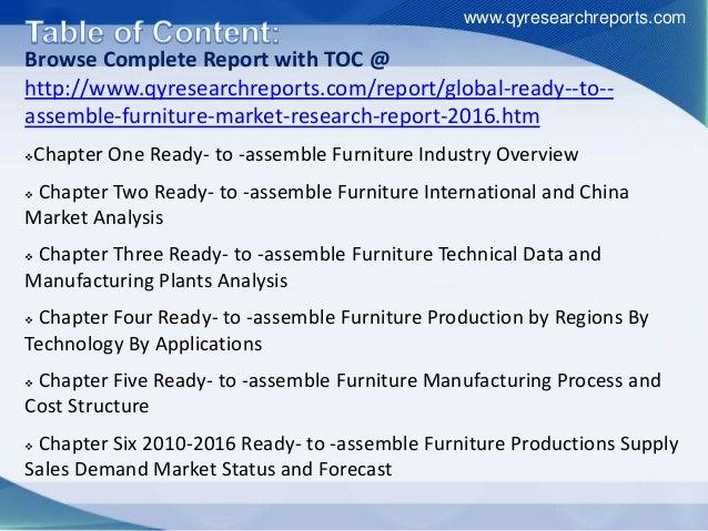 assemble Furniture market. www.qyresearchreports.com; 4.