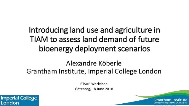 Introducing land use and agriculture in TIAM to assess land demand of future bioenergy deployment scenarios Alexandre Köbe...