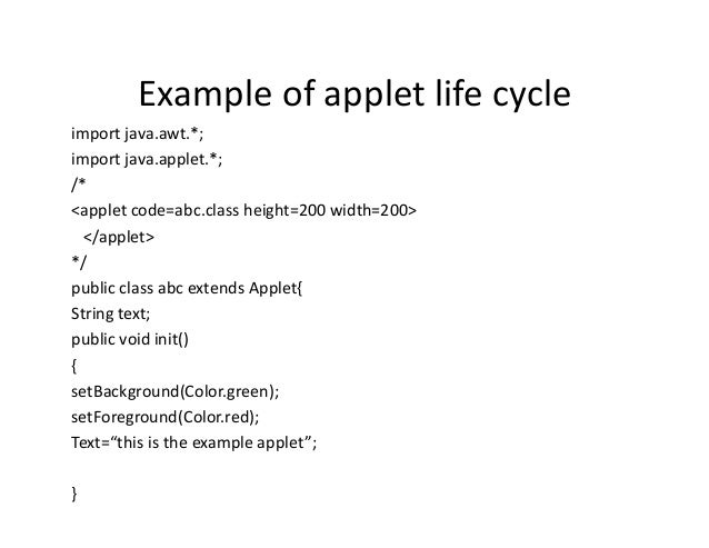 How to write an applet