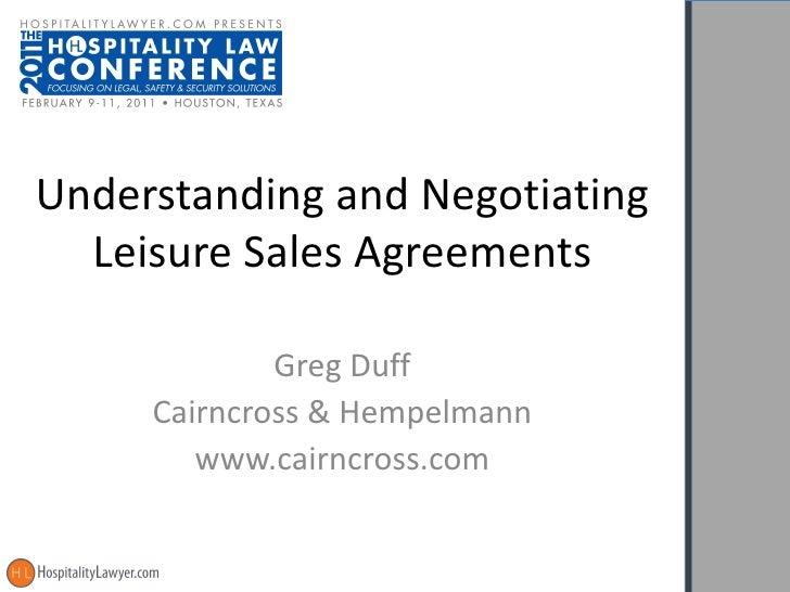 Understanding and Negotiating Leisure Sales Agreements