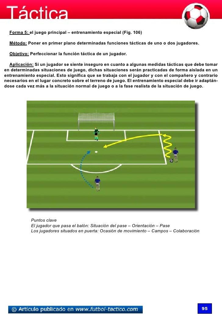 Forma 5: el juego principal – entrenamiento especial (Fig. 106)  Método: Poner en primer plano determinadas funciones táct...