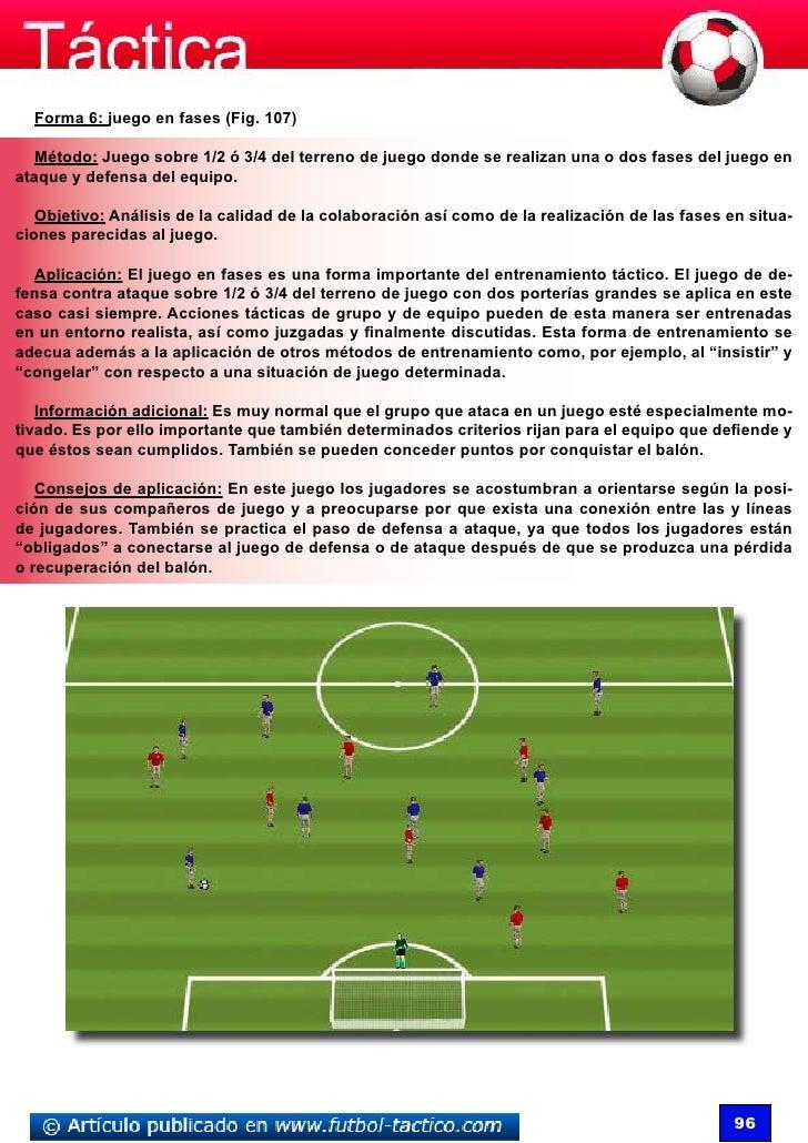 Forma 6: juego en fases (Fig. 107)   Método: Juego sobre 1/2 ó 3/4 del terreno de juego donde se realizan una o dos fases ...