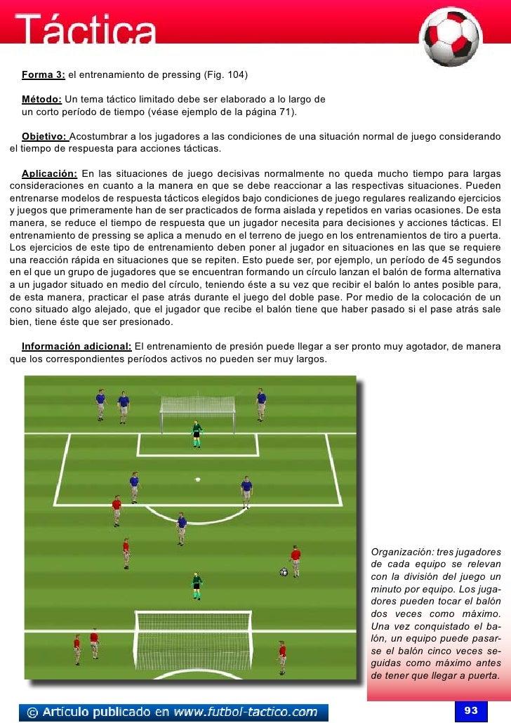 Forma 3: el entrenamiento de pressing (Fig. 104)  Método: Un tema táctico limitado debe ser elaborado a lo largo de  un co...