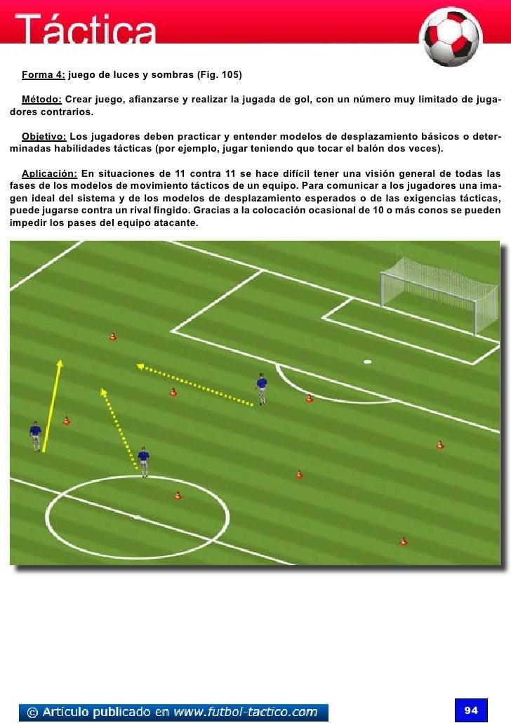 Forma 4: juego de luces y sombras (Fig. 105)  Método: Crear juego, afianzarse y realizar la jugada de gol, con un número m...