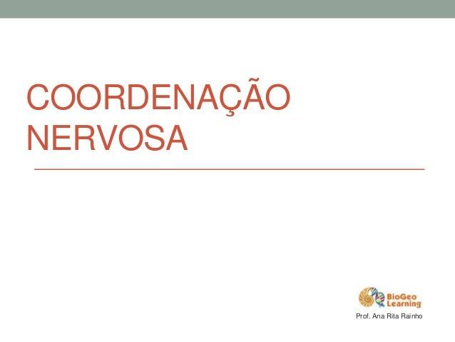 COORDENAÇÃO NERVOSA Prof. Ana Rita Rainho