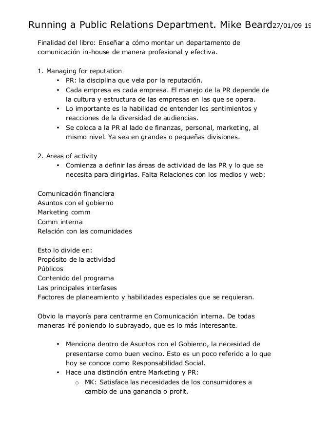 resumen libro running a relations department mike