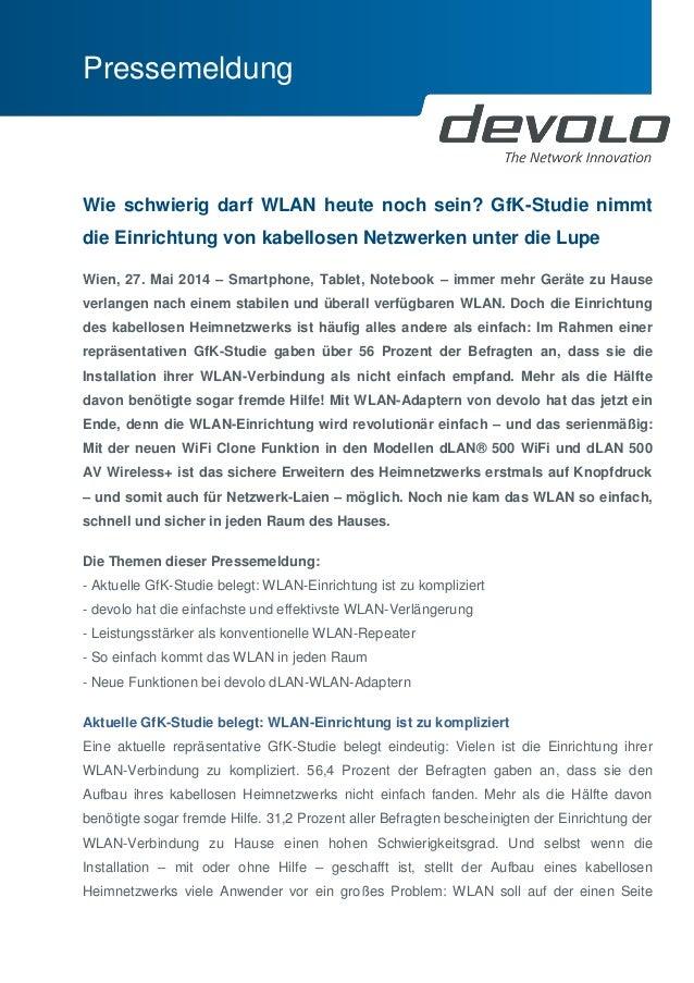 Pressemeldung  Wie schwierig darf WLAN heute noch sein? GfK-Studie nimmt die Einrichtung von kabellosen Netzwerken unter d...