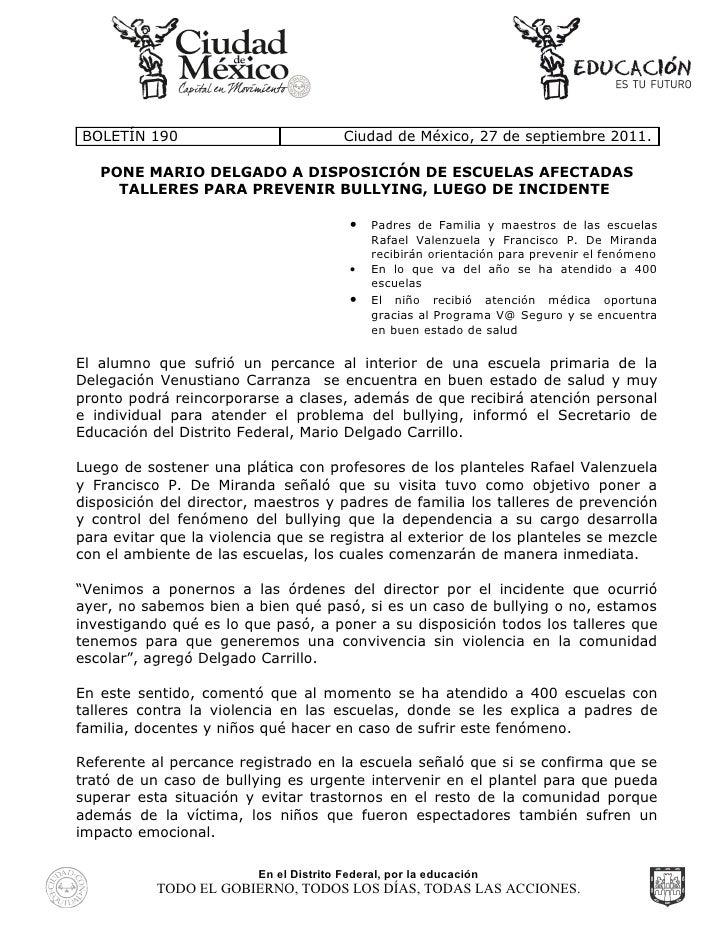 BOLETÍN 190                              Ciudad de México, 27 de septiembre 2011.   PONE MARIO DELGADO A DISPOSICIÓN DE ES...