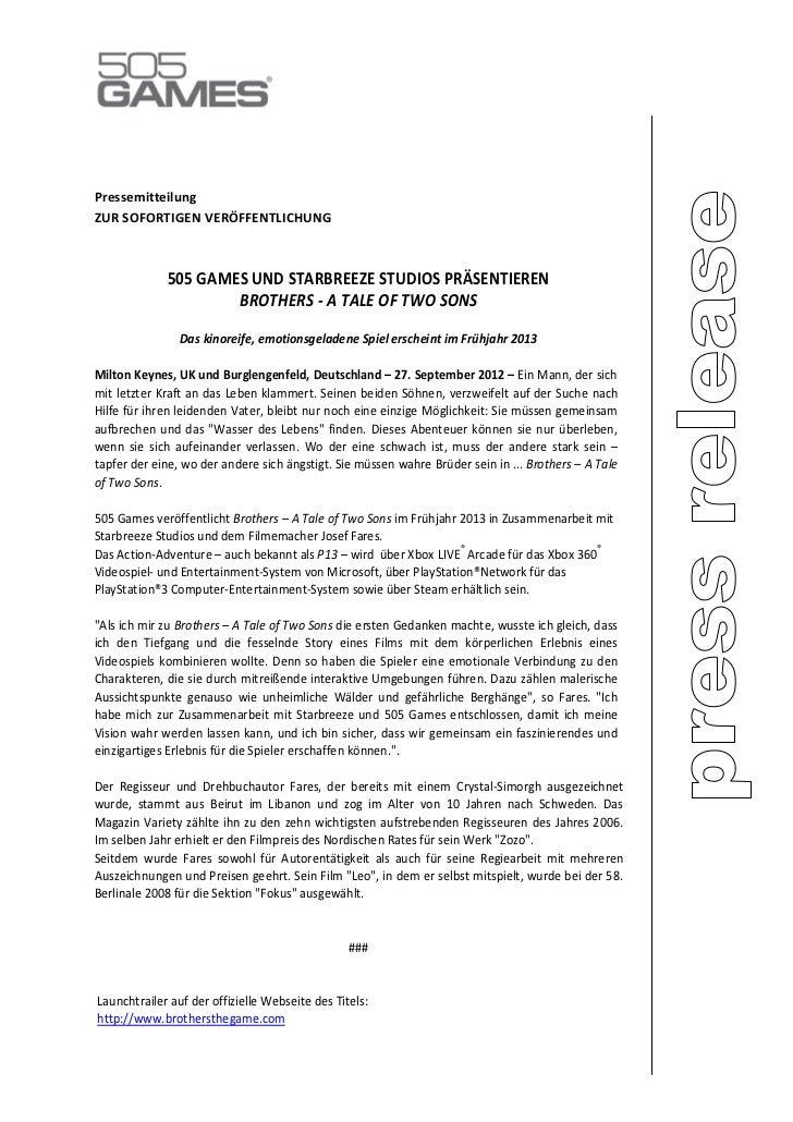 PressemitteilungZUR SOFORTIGEN VERÖFFENTLICHUNG             505 GAMES UND STARBREEZE STUDIOS PRÄSENTIEREN                 ...