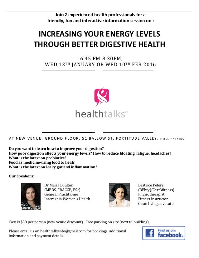 Join  2  experienced  health  professionals  for  a     friendly,  fun  and  intera...