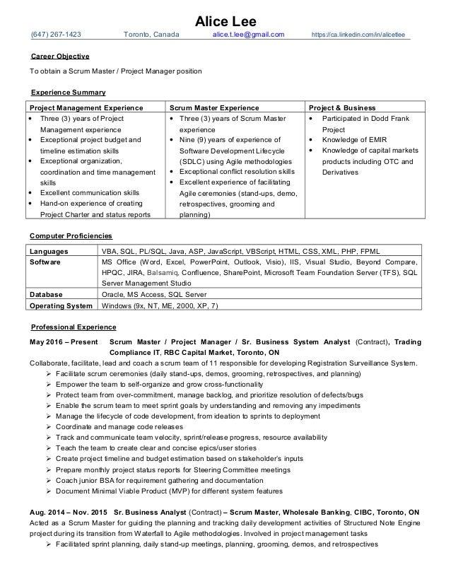 Agile Scrum Master Resume Sample - Apigram.com