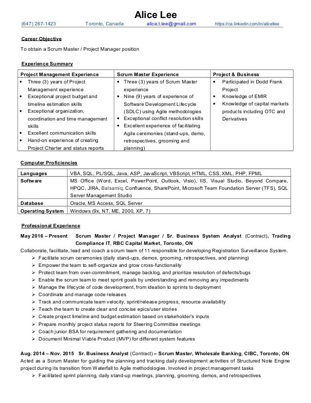 SlideShare  Scrum Master Resume