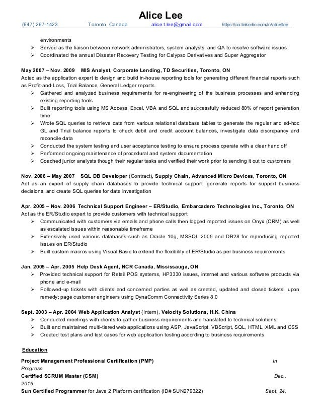 Alice Lee Resume -- Pm, Scrum Master Oct2016 - Finance