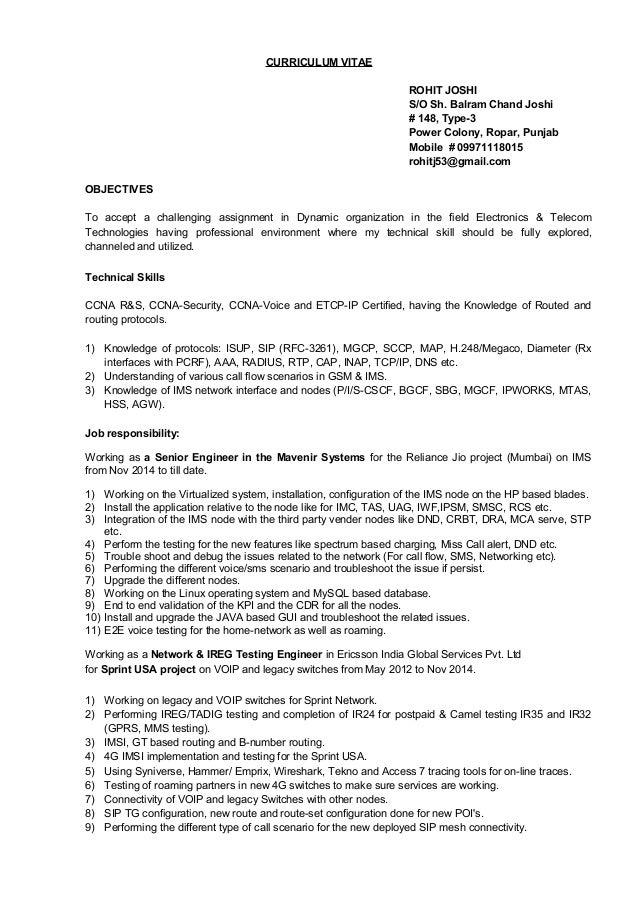 CURRICULUM VITAE ROHIT JOSHI S/O Sh. Balram Chand Joshi # 148, Type-3 Power Colony, Ropar, Punjab Mobile # 09971118015 roh...